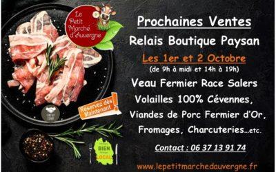 Prochain Relais Boutique Paysan les 1er et 2 Oct.