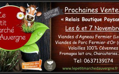 Prochain Relais Boutique Paysan les 5 et 6 Nov.